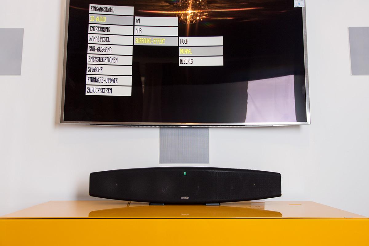 Rudimentär aber gut strukturiert: Das Menü der Monitor Audio ASB-2