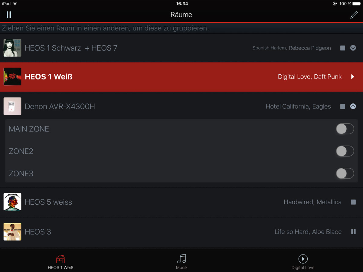 Ein Blick in unsere HEOS App: Verschiedene HEOS Lautsprecher und ein AVR-X4300H sind aktuell eingebunden