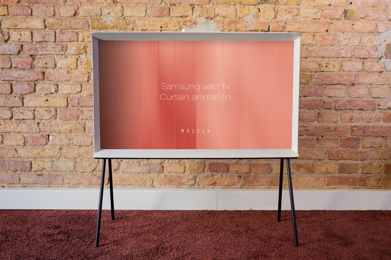Der Designfernseher Serif mit Curtain Mode