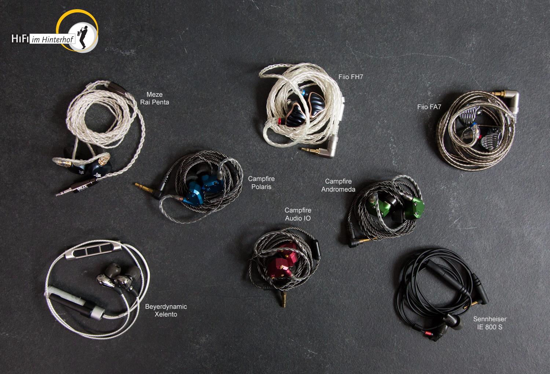 In-Ear-Kopfhörer bei HiFi im Hinterhof in Berlin probehören: Beyerdynamic Xelento Remote und Wireless, Campfire Audio IO, Polaris 2 und Andromeda 2, FiiO FH7 und FA7, Meze Rai Penta und Sennheiser IE 800 S