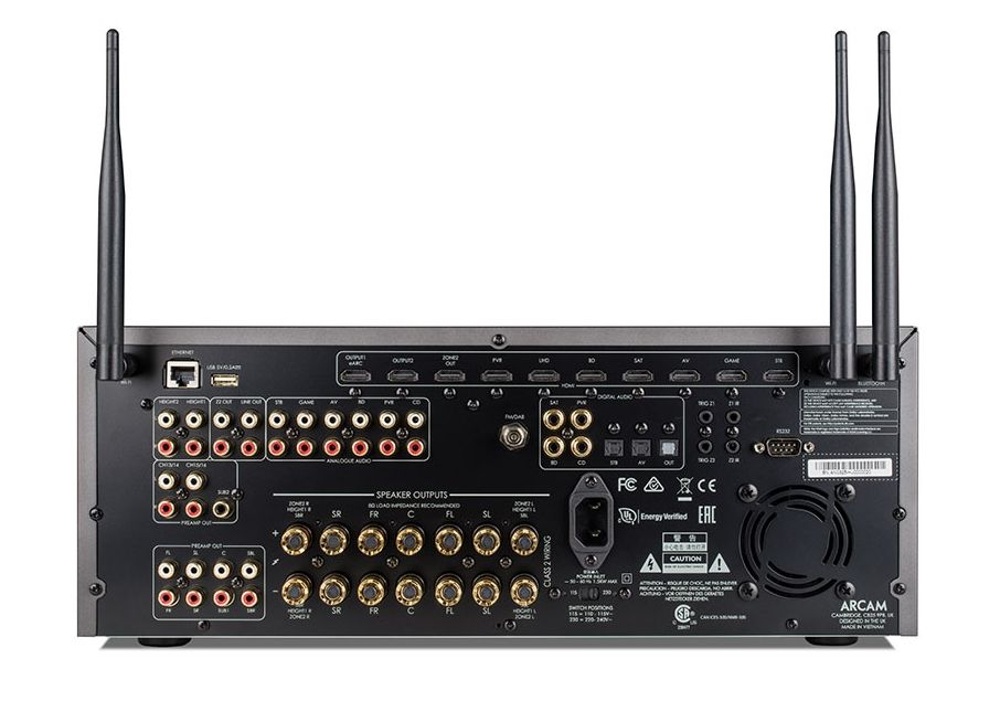 Das großzügig ausgestattete Backpanel des AVR30