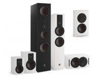 Von links nach rechts die Lautsprecher der Opticon MK2-Serie: Opticon1 MK2, Opticon 2 MK2, Opticon 6 MK2. Opticon 8 MK2, Opticon LCR MK2, Opiticon Vokal MK2